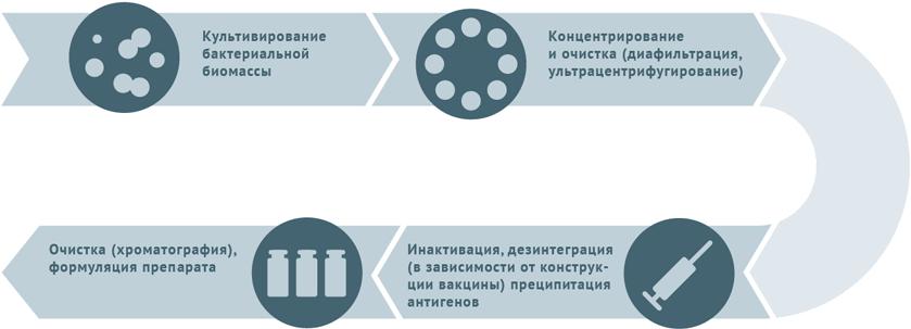 Блок-схема производства бактериальных инактивированных вакцин