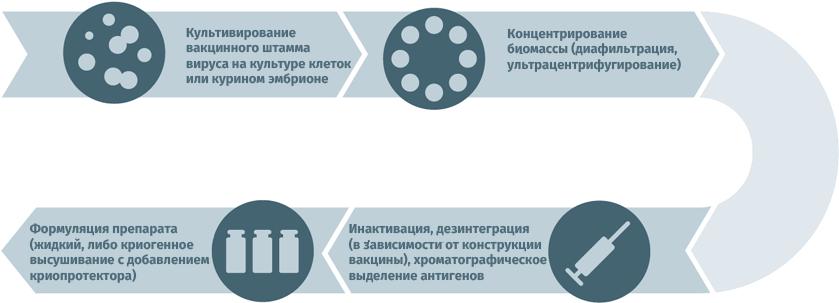 Блок-схема производства инактивированных противовирусных вакцин