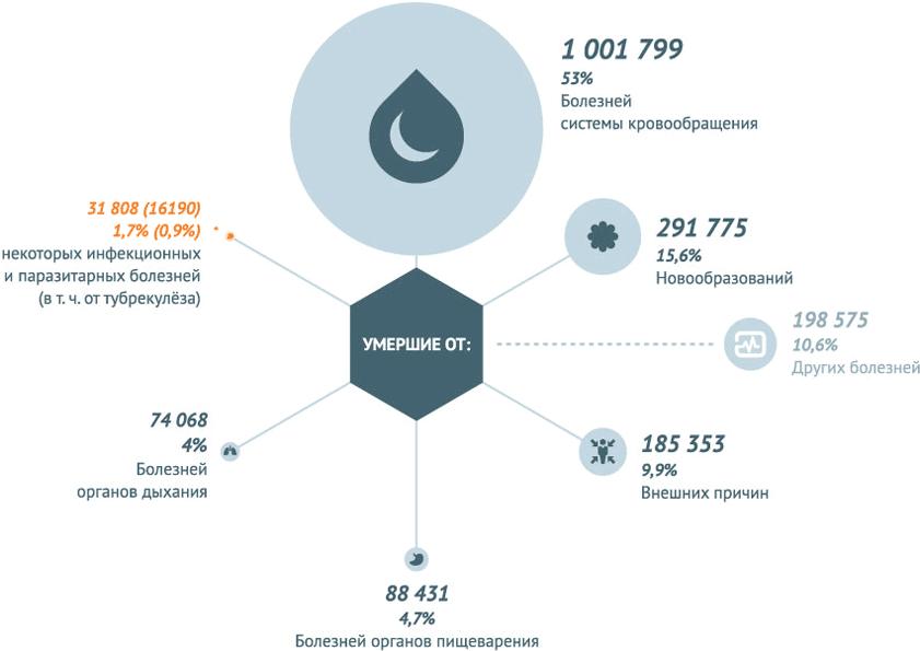 Умершие по основным классам причин смерти в РФ на 2013 год